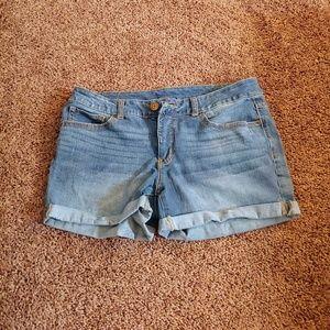 Time&Tru blue denim cuffed shorts